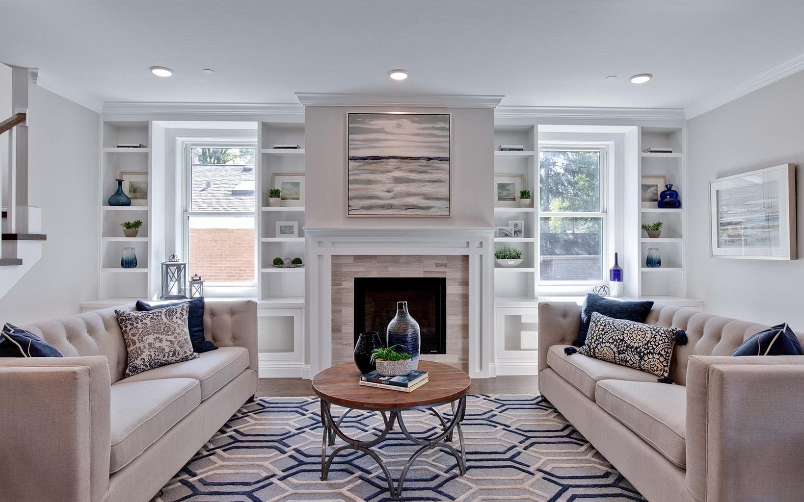 Modern Living Room   Chicago Custom Home Builder - BrightLeaf Homes   BrightLeafHomes.com